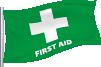 Groen met wit kruis: Eerste hulp personeel aanwezig op reddingspost