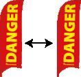 Rood met 'DANGER' in geel: Gebied met gevaarlijke omstandigheden